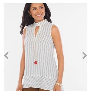 Chico's Striped Choker Tunic Top